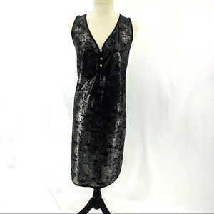Vintage Black Silver Semi Sheer Nightgown